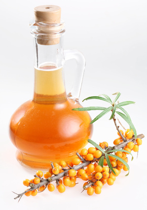 Sea buckthorn oil on a white background